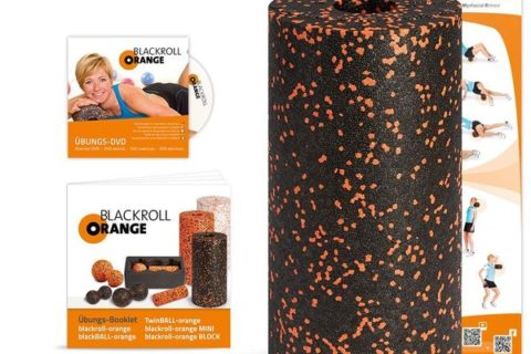Blackroll Orange (Das Original) - Faszienrolle inkl. Übungs-DVD, Übungsposter & Booklet.